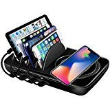 (Wireless Charging Station Dock,Multiple Devices Charging Organizer with 10W Fast Qi Cordless Charge Pad, Multi Desktop Docking Station Hub with Type-C/USB/Quick Charge 3.0 Port for Android iOS, Black )