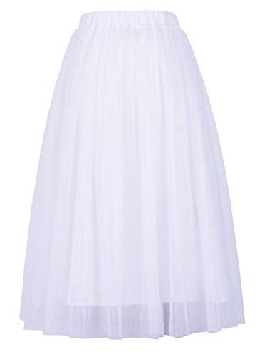 - Joeoy Women's White Elastic Waist Ballet Layered Princess Mesh Tulle Midi Skirt-XL