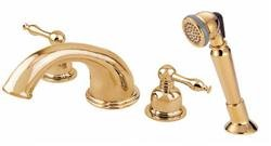 (Danze D302755PBV Sheridan Two Handle Roman Tub Faucet with Soft Touch Personal Shower, Polished Brass)