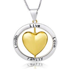"Price comparison product image jacob alex #40457 Laugh Live Love Family Rolling Heart Pendant 18"" Necklace 925 Sterling Silver"