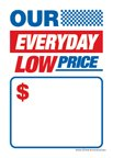 D30OEL ''Our Everyday Low Price'' Unstrung Drill Sale Tags (No Strings) Small Price Cards - 3 1/2'' x 5'' (100 Pack) Furniture, Flooring, Business Store Signs