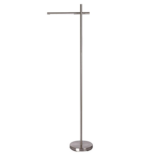 Floor Lamp LED Dimmable Elongated Shade 1-Light in Nickel (Antique Nickel Pharmacy Floor Lamp)