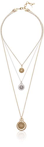 Lucky Brand Pave Medallion Layer Necklace, Two Tone, One Size