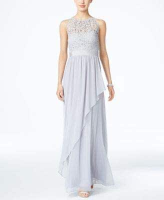 ADRIANNA PAPELL Womens Gray Gown Lace Illusion Sleeveless Jewel Neck Full-Length Evening Dress US Size: 12