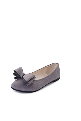 Leisure shallow Bow thin tie mouths flat shoes Pointed Gray Women's Plastic wYTgq0
