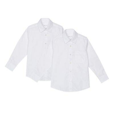 Debenhams Kids Set of 2 Boys White Regular Fit School Shirts Age 12
