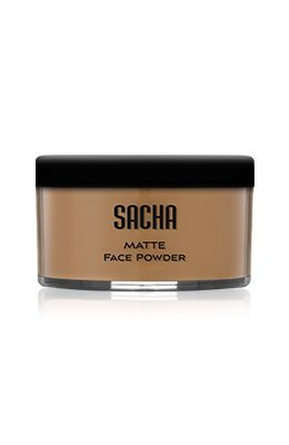 (Loose Face Powder by Sacha Cosmetics, Best Matte Finishing Powder for use alone or Setting your Makeup Foundation to give a Flawless Beautiful Finish, for All Skin Types, 1.25 oz, Perfect Caramel)