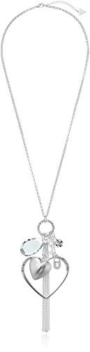 - GUESS Basic Silver Large Open Heart Charm Pendant Necklace, 28