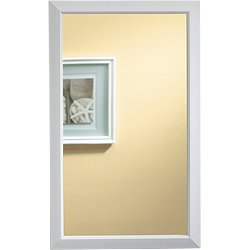 Jensen 625N244WHC Hampton Recessed and Framed Medicine Cabinet, White - Framed Mirror Cabinet