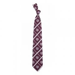 Texas A&M Aggies NCAA Silver Line Woven Silk Mens Tie