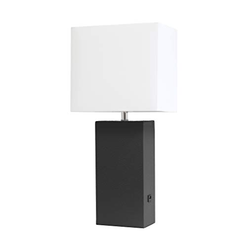 Elegant Designs LT1053-BLK Modern Leather USB and White Fabric Shade Table Lamp, ()
