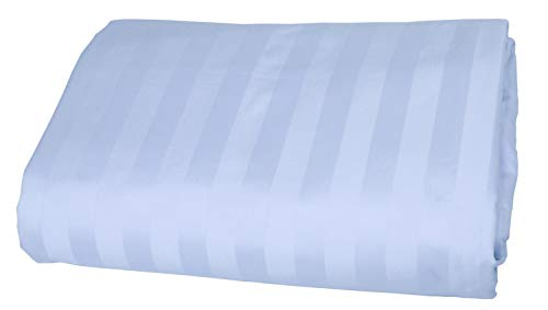 American Pillowcase 100% Egyptian Cotton Luxury Striped 540 Thread Count Fitted Sheet with Wrinkle Guard - King, Light Blue