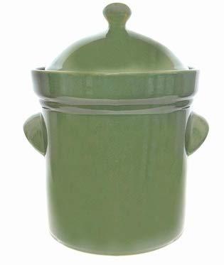 Boleslawiec 10 L Polish GREEN COLORED Fermenting Crock Pot - PRESSING STONES INCLUDED - Harsch Fermenting Crock Pot
