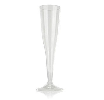 amazoncom high quality hard plastic clear champagne flutes 6 ounce capacity set of 18 disposable glass drinkware champagne glasses