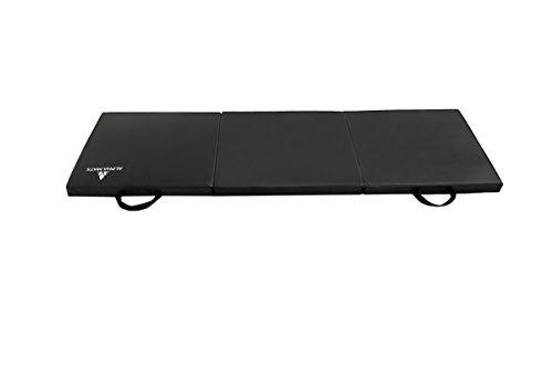 (Alpha Mats Folding Gymnastics and Exercise Mat, PU Material & EPE Foam, Perfect for Aerobics, Yoga, Martial Arts, Black, 2'x6'x2