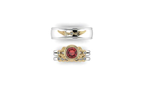 Inspired Ring Bvlgari (Trio Love 3 Piece HARRY POTTER Inspired Themed Natural Diamond Couple His Him Her Snitch Winged Wizard 14k White Gold Engagement Wedding Anniversary Men Women Ring Band Set,All US Size available)