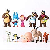 Masha and The Bear Playset 10 Pcs Figures Doll Toys Party Favor Cupcake Topper + Bonus Assorted Stickers by ToysOutletUSA