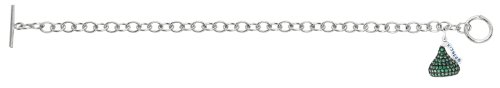 Sterling silver & green Cubic Zirconium 3D Hershey's Kiss May Bracelet with one Medium kiss