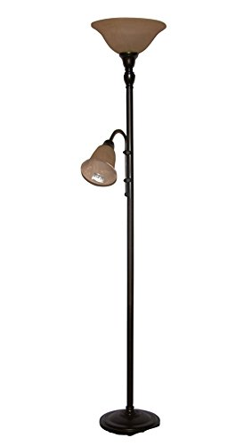 A Ray Of Light AG1166 Torchiere with Adjustable Reading Arm Floor Lamp, Textured Black (Buffett Lamp)