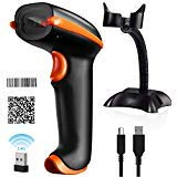 Tera Wireless Barcode Scanner Compatible with Bluetooth, Printed Digital 1D 2D QR Barcode Reader Scanner Handheld Bar Code Scanner Wireless for PC Laptop Smartphone Tablet with Hands Free Stand, Blue (Best Qr Scanner App)