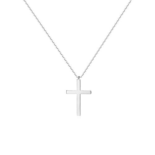 Mevecco Dainty Silver Cross Necklace for Women,14K Silver Plated Cute Tiny Faith/Crucifix Delicate Minimalist Necklace for Girls