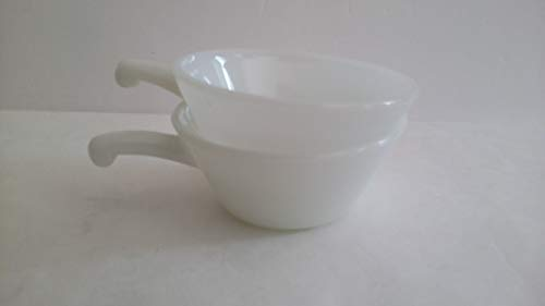 SET 2 Anchor Hocking Fire King White Milk Glass Chili Soup Cereal Bowls Cups