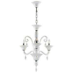 (Cyan Lighting 6496-3-14 Treviso - Three Light Chandelier, Chrome Finish with White Murano Glass with White Murano)