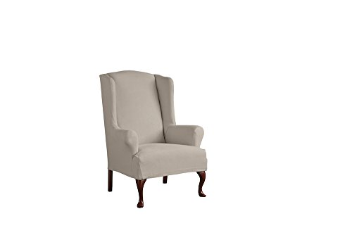 Serta 1 Piece Reversible Stretch Suede T Wingback Chair Slipcover, Brown/Ivory (Wingback Chair)