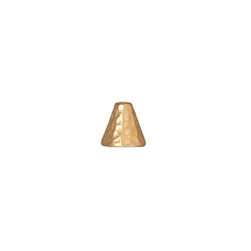 TierraCast Cone Hammered, 8x8mm, 22K Gold Plated Pewter, 4-Pack (Shaped Caps Gold Bead Plated)