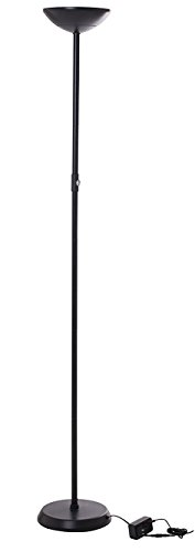 Brightech – SKY Lite LED Torchiere Floor Lamp – 24-Watt Ultra-Bright Power-Saver with Built-in Dimmer – Black Color