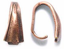 Shipwreck Beads Electroplated Brass Pinch Bail, 9mm, Metallic, Antique Copper, 12-Piece