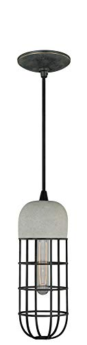 (Vaxcel P0073 5-Inch Concrete Mini Pendant, Black Iron)