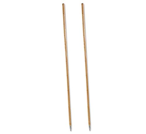 (Metal Tip Threaded Hardwood Broom Handle, 1-1/8