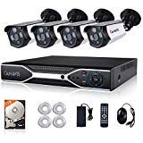 PoE Security Camera System, CANAVIS 4 Channel Full HD 1080P Surveillance NVR,4 x 2.0MP Outdoor IP Network Cameras,115ft Night Vision and 1TB HDD