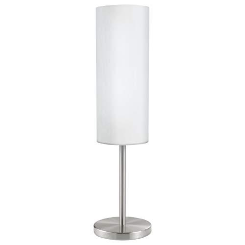 EGLO Tafellamp Troy 3, 1-Pits Tafellamp, Nachtkastje Lamp van Staal, Kleur: Nikkel Mat, Glas: Satijnwit, Fitting: E27…