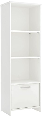 South Shore Narrow 3-Shelf Storage Bookcase with Door, Pure White
