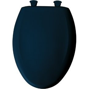 Elongated Plastic Toilet Seat with Top-Tite Hinges Finish: Navy ()
