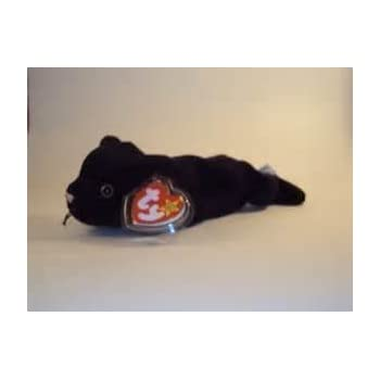 TY Beanie Babies Velvet the Cat Stuffed Animal Plush Toy - 6 1/2 inches long - Black - Style 4064