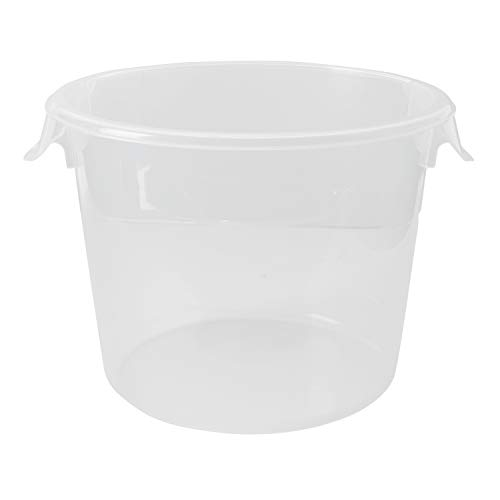 Rubbermaid Commercial Products Plastic Round Food Storage Container for Kitchen/Food Prep/Storing, 6 Quart, Clear, Container Only (FG572324CLR)