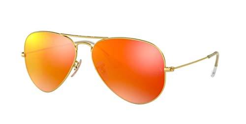 - Ray Ban RB3025 112/69 58M Matte Gold/Brown Mirror Orange Aviator