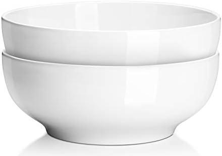Dowan 9 5 Large Serving Bowls 2 8 Quart Big Salad Bowls Porcelain Pasta Bowl Set Sturdy Mixing Bowls Microwave Dishwasher Safe Deep Soup Bowl For Family Kitchen White Bowls Set