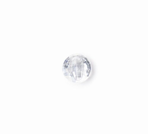 Crendon 2B/1142 | Clear Glass Effect Polyester Fashion Button | Shank 11mm (Clear Glass Buttons)