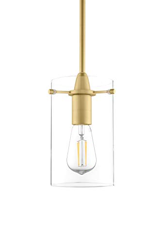 Pendant Gold Satin Clear (Effimero Medium Hanging Pendant Light - Satin Brass w/Clear Glass - Linea di Liara LL-P313-SB)