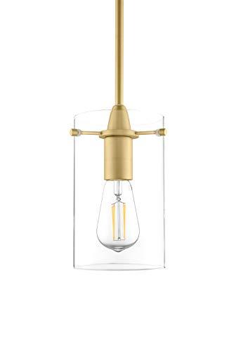 Gold Pendant Clear Satin (Effimero Medium Hanging Pendant Light - Satin Brass w/Clear Glass - Linea di Liara LL-P313-SB)