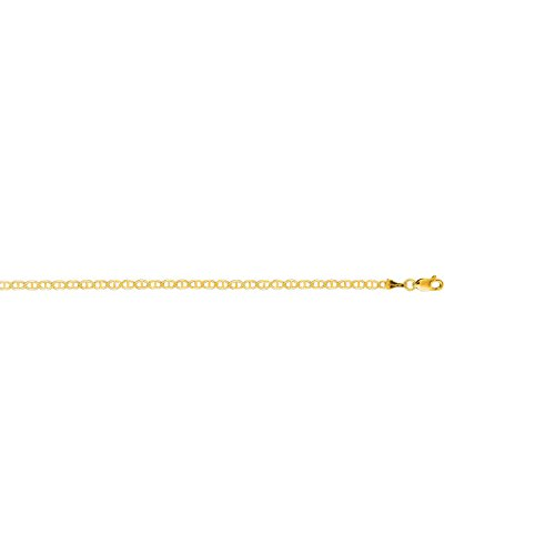 10k Solid Yellow Gold Mariner Link Chain Ankle Anklet 10 (Gold Mariner Link)