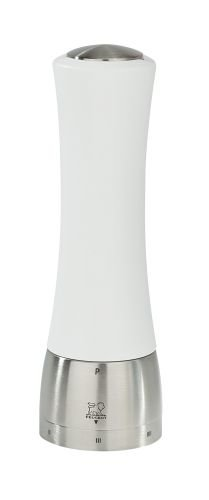White Lacquer with Stainless Steel Peugeot Madras Salt Mill 6.5-Inch