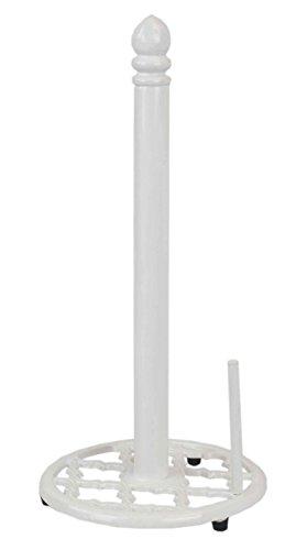 Home Basics Lattice Collection Cast Iron Paper Towel Holder (White) ()