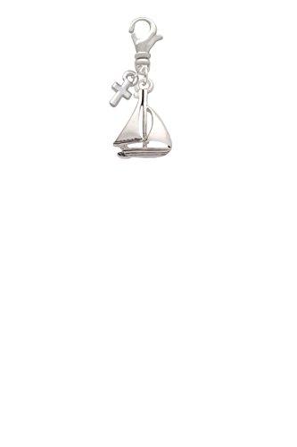 Antiqued Sailboat Mini Cross Clip On Charm (Charm Mini Antiqued Cross)