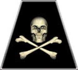 Fire Helmet Jolly Roger Flag TETRAHEDRONS - Single REFLECTIVE Decal
