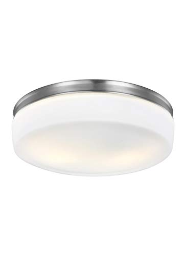 Feiss FM504SN Issen Glass Flush Mount Ceiling Lighting, Satin Nickel, 2-Light (14